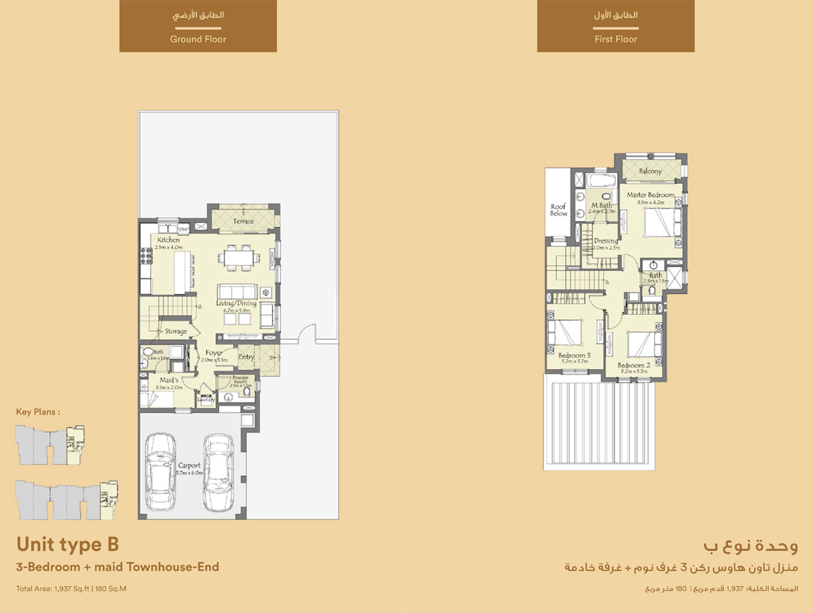Unit Type B, 3 Bedroom  : 1,937 sq.ft.