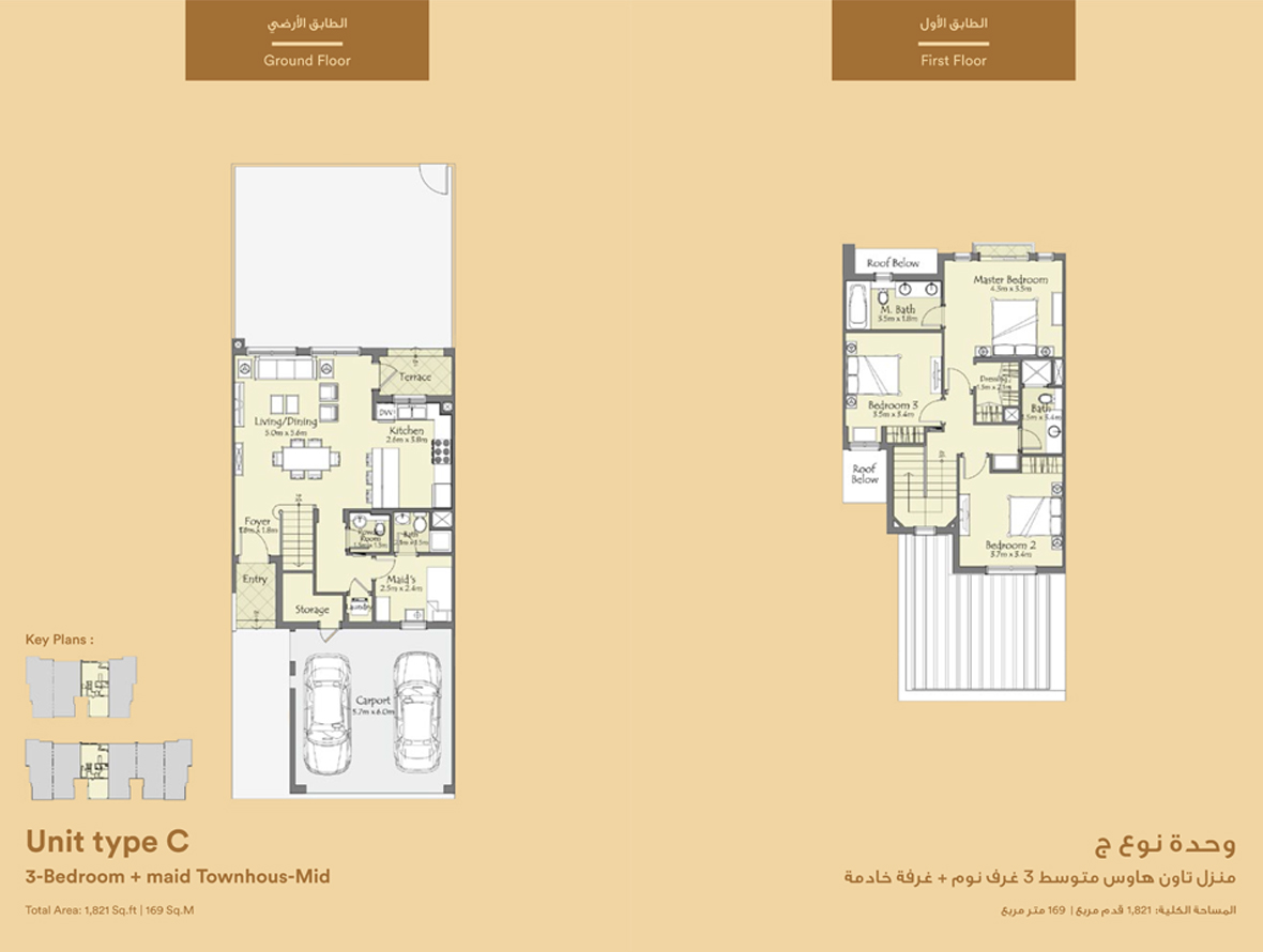 Unit Type C, 3 Bedroom  : 1,821 sq.ft.